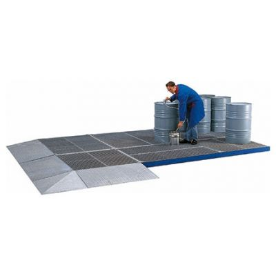 Access ramps for ground protection systems made from steel