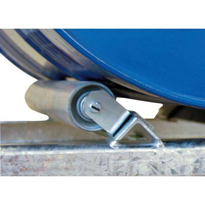 Rotating roller support for 200 l barrel