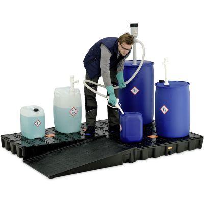 Vasca di raccolta in polietilene 120 HD con griglia in polietilene, senza omologazione