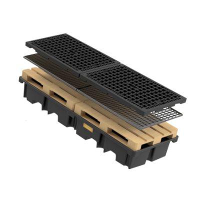 PE-pallet sump for 2 pallets 120 x 80cm along, 425 l
