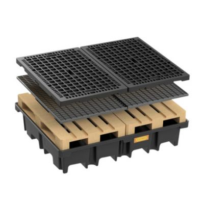 PE-pallet sump for 2 pallets 120 x 80cm across, 425 l