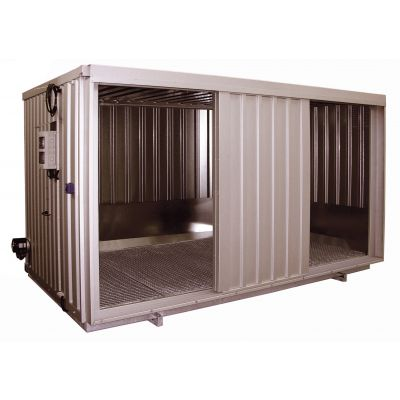 Safety storage container with sliding door for water-polluting substances